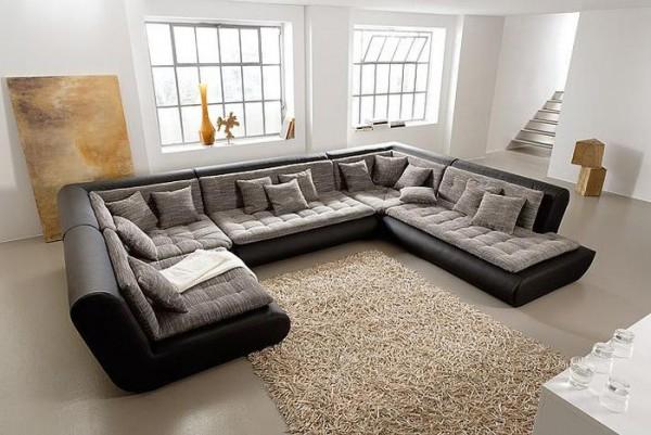 Красивая модульная мебель для гостиной с угловым диваном