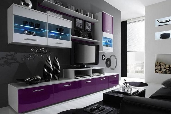 фото современных модульных стенок в гостиную белая черная глянец