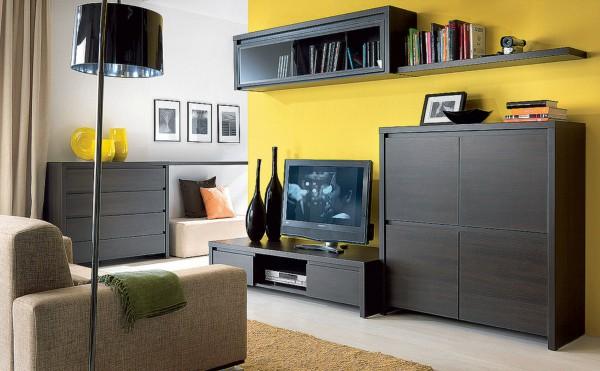 Модульная гостиная с угловым шкафом и комодом