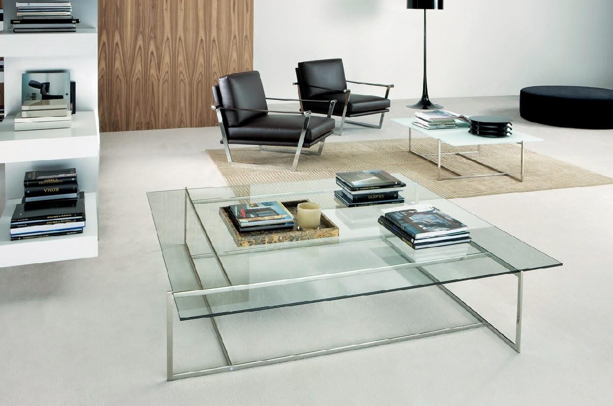 Стеклянные журнальные столики – изысканный акцент в интерьере гостиной
