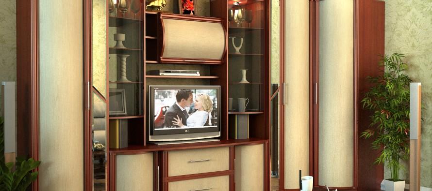 Стенка со шкафом для одежды в гостиную