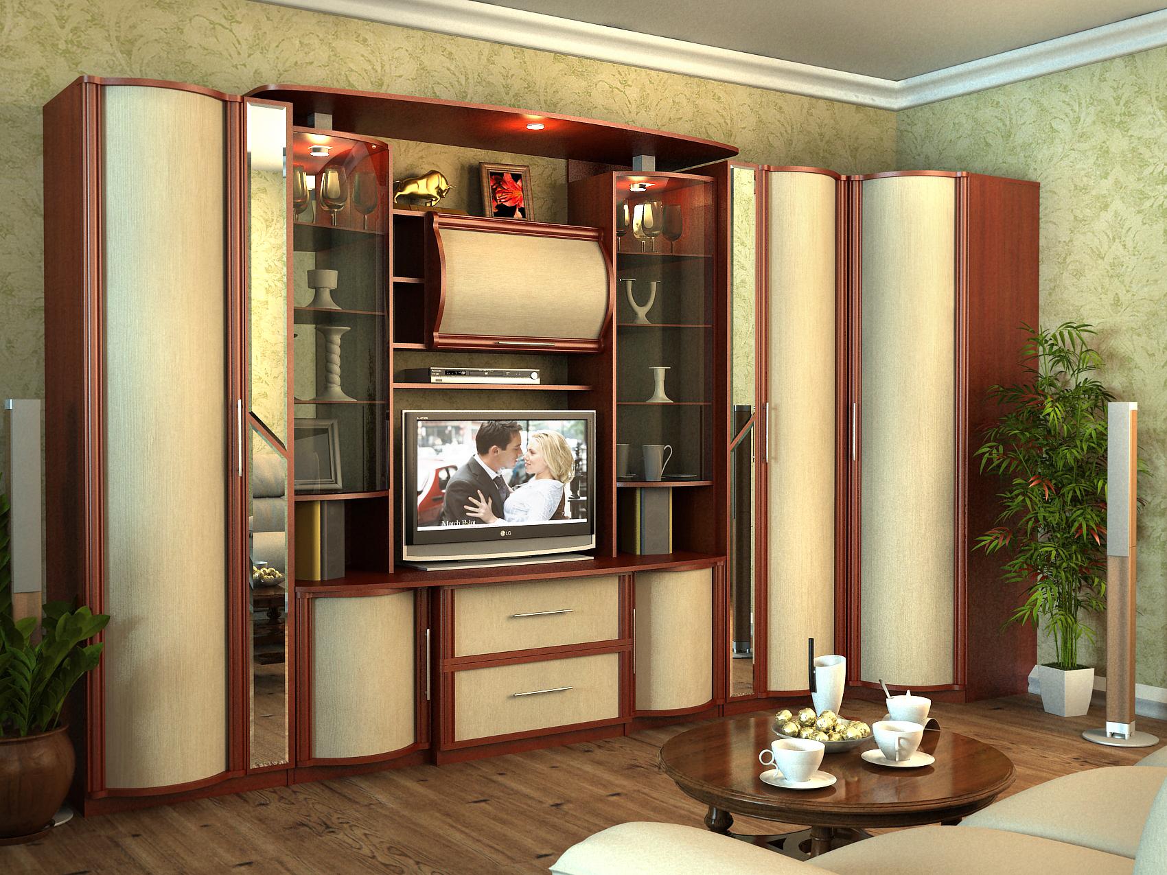 Стенка для гостиной со шкафом для одежды - современные дизайнерские тенденции