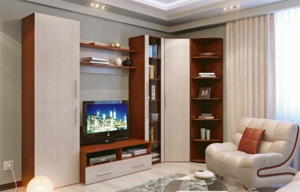 Стильная модульная мебель для гостиной с угловым шкафом