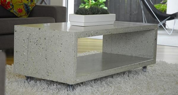 Бетонный отполированный столик который станет отличным дополнением к интерьеру