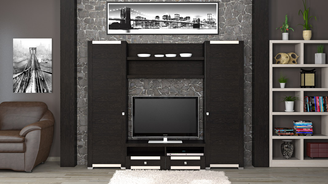 Стенки под телевизор со шкафами под одежду 86