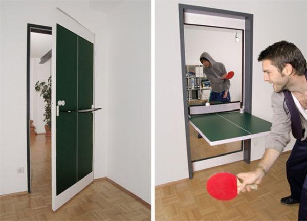 Дверь, которая может быть трансформирована в стол для пинг-понга