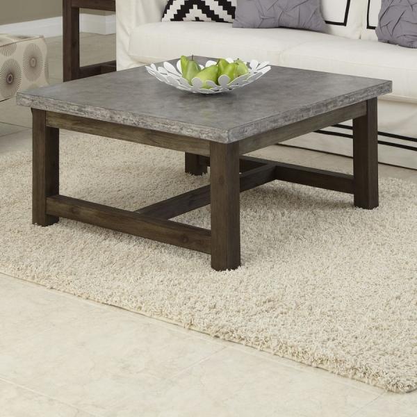 Уникальный кофейный столик из дерева и бетона