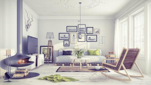 Фото дизайна гостиной в скандинавском стиле интерьера