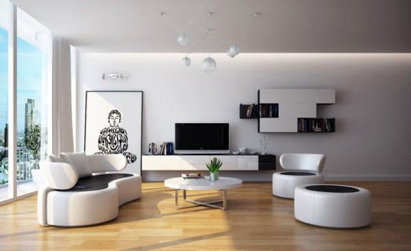 Фото дизайна интерьера гостиной в стиле минимализм