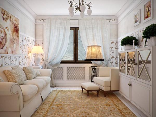 Фото дизайна интерьера гостиной в стиле прованс