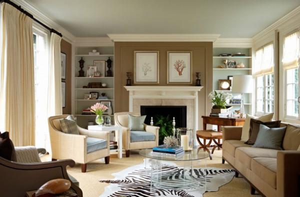Фото гостиной в английском стиле с камином