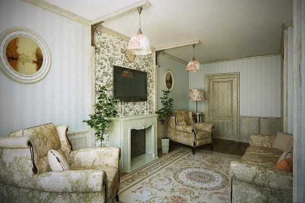 Фото гостиной в стиле прованс с камином