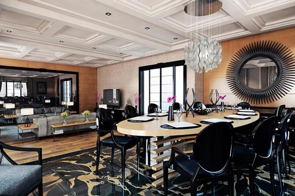 Фото интерьера гостиной комнаты с кухней в современном стиле