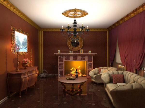 Фото классического интерьера гостиной с камином