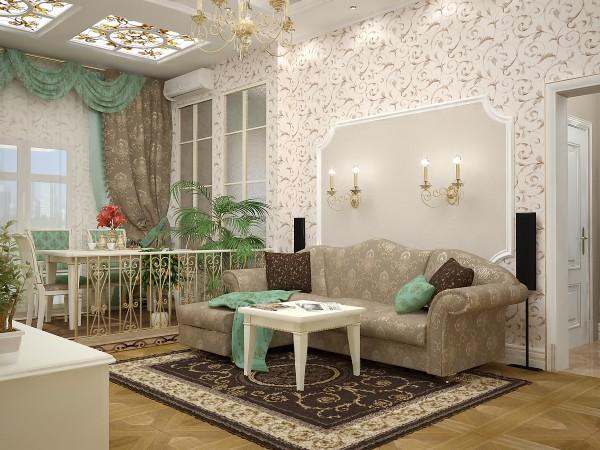 Фото красивых обоев для гостиной в современном стиле