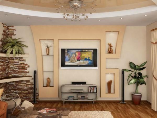 Фото тумбы под телевизор из гипсокартона