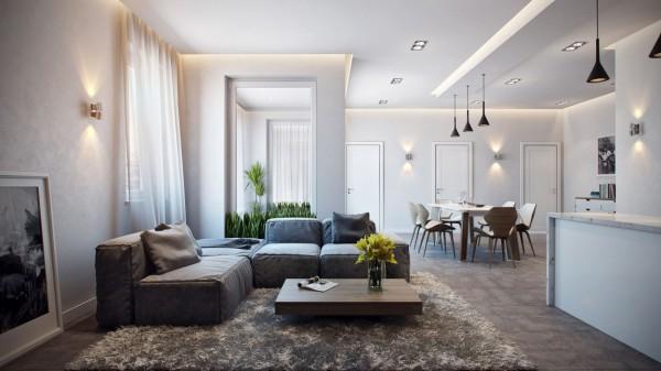 Ковер нейтрального цвета на полу гостиной
