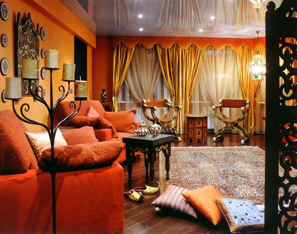 Ковры в интерьере гостиной в стиле oriental