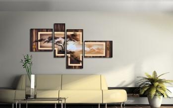 Модульные картины в интерьере гостиной комнаты красивой