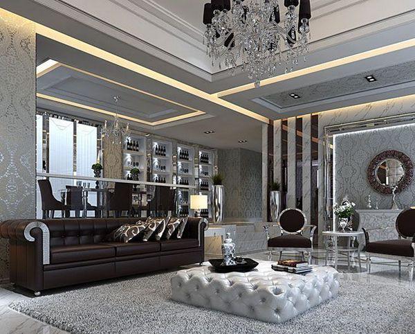 Оформление стен гостиной в стиле арт-деко