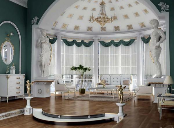 Просторную гостиную можно украсить и скульптурами