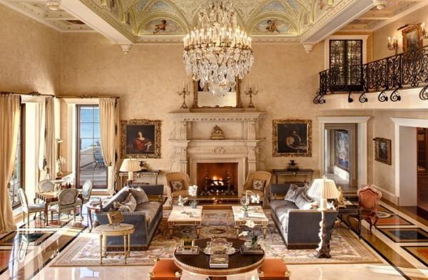Репродукции известных картин в интерьере классической гостиной
