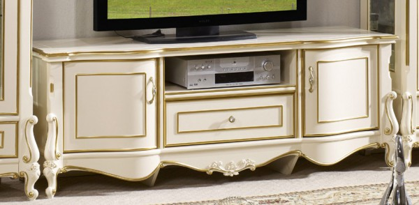 Тумба под телевизор в стиле классики (белая)