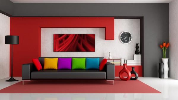 Яркая и стильная гостиная с картиной на стене