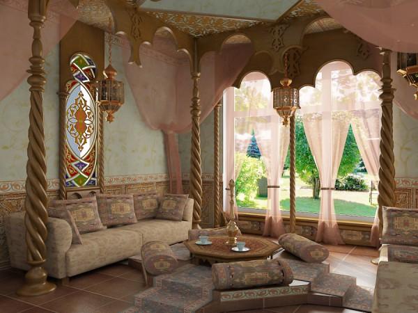 Золото как основа цветовой схемы восточной гостиной