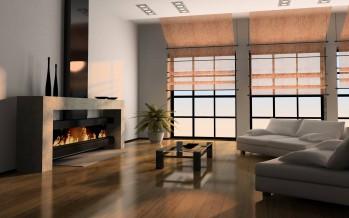 дизайн гостиной современной с камином