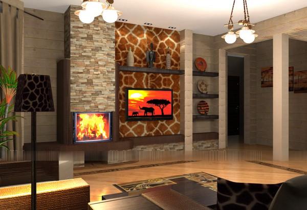 дизайн интерьера гостиной в современном стиле этническом