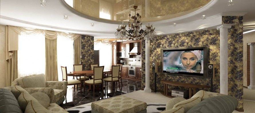 гостиная с интерьером в классическом современном стиле