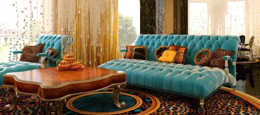 гостиная в стиле арт деко уникальная и вычурная