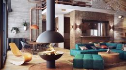 Интерьер гостиной, выполненный в стиле лофт: сквозь стены и эпохи
