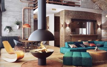 лофт в оформлении стиля интерьера гостиной