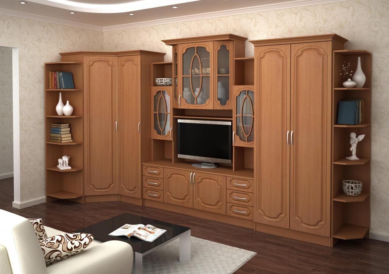 Мебельные стенки в гостиную: новинки и их фото.