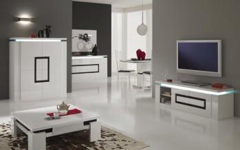 тумба под телевизор белая глянцевая с черным квадратом
