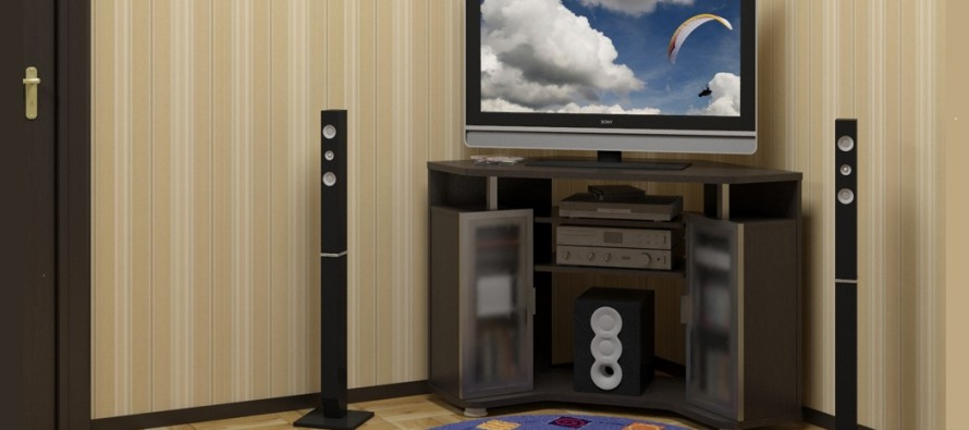угловая тумба под телевизор в интерьере гостиной