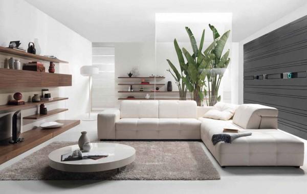 квадратная гостиная в стиле минимализм