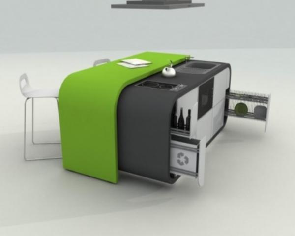 Кухня, которая состоит из одного модуля