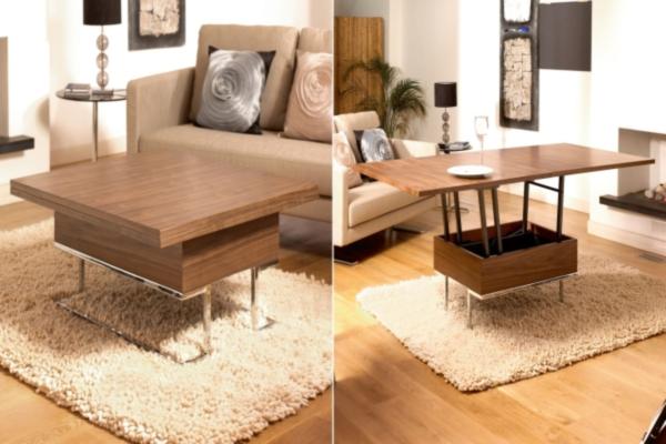 Маленький кофейный столик который с легкостью превращается в большой обеденный стол