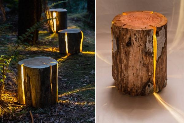 Светящаяся колода которую можно использовать в качестве табурета или столика