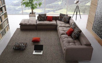 модульный угловой диван в современной гостиной