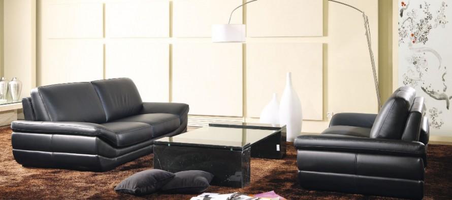 Фото  кожаного прямого дивана