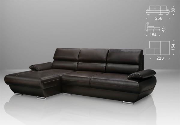 Кожаные низкий угловой диван