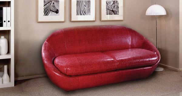 Прямой мягкий диван типа еврокнижка без подлокотников