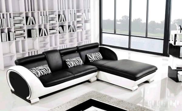 Современный угловой диван из кожи