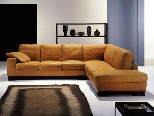 Стильный угловой кожаный диван