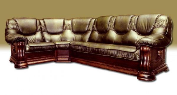 Стильный угловой кожаный диван Бруклин