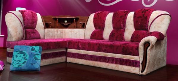 Угловой диван с угловым баром и подсветкой